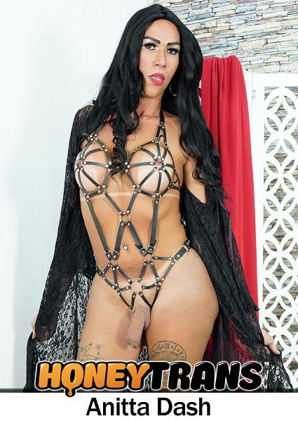 Big Dicked Latina Transsexual Anitta Dash In Fetish Outfit Strokes Cock Box Cover