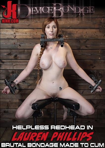 Device Bondage - Lauren Phillips: Helpless Redhead in Brutal Bondage Made to Cum Box Cover