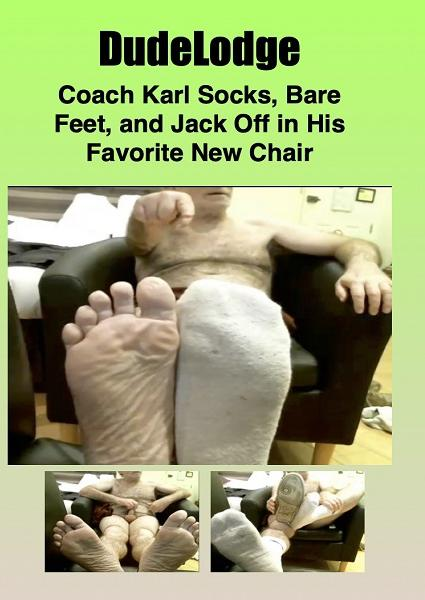 Coach Karl Socks, Bare Feet, and Jack Off in His Favorite New Chair Box Cover